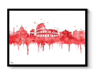Rome illustration, city Italy artwork, professional print 2 purchased get 1 free