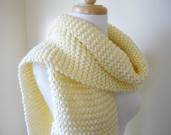Long Scarf Chunky Knit Scarf Womens Scarf Mens Scarf Warm Winter Scarf Unisex Scarf in Cream/Winter White 9 x 68 - Ready to Ship