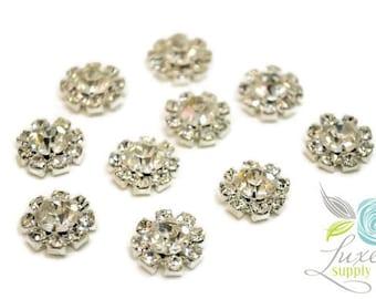 Silver Plating Clear Rhinestone 14mm Metal Embellishments (MR179) Flat Back - DIY - You Choose Quantity- Wholesale Rhinestones -  14 mm