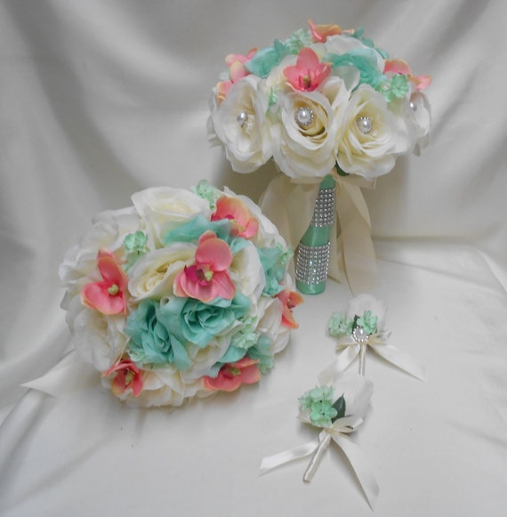 Wedding silk flower bridal bouquet 18 pieces package ivory like this item mightylinksfo Images