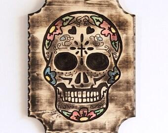 """Day of the Dead Calavera sugar skull wooden wall hanging 9""""x12"""" plaque Dia de los Muertos"""