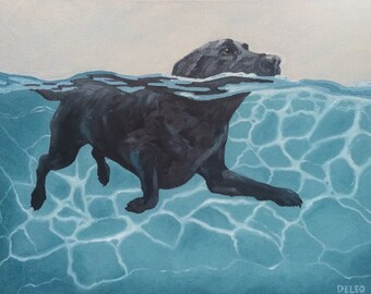 Pool Dog III, Giclee Print