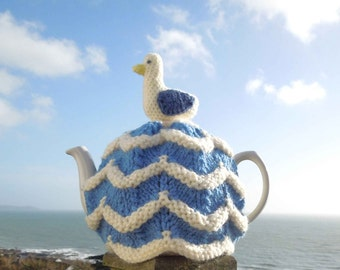 Hand made in Cornwall, nautical seagull, knitted tea cosy for your teapot. Cornishware. Fits 2 pint, 4-6 cup pot. Cornish gifts teacosies