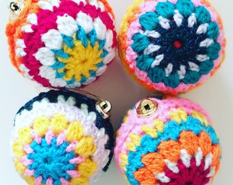 Multicoloured Crochet Christmas Tree Baubles