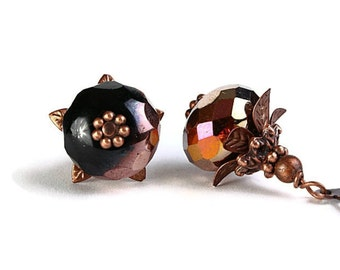 Black and copper Czech glass rondelle and antique copper leverback earrings (243)