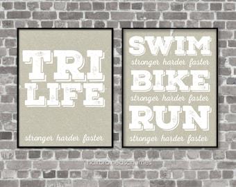 Fitness Digital Art Triathlon Print Art Typography Poster Print Triathlon Gift for Triathlete Ironman Exercise Athlete Art Kraft Gray