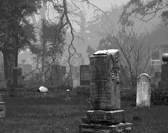 Gravestone Art, Black and White, Photography, Monochrome, Tombstone Photos, Graveyard Photos, Historic Graveyard, Creepy, Foggy, Dark, Art