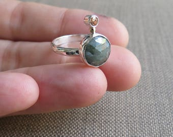 Gemstone Ring, Amazonite Ring, Mixed Metals, Sterling Silver Stone Ring, Handmade Ring, 14kt gold, Multistone Ring