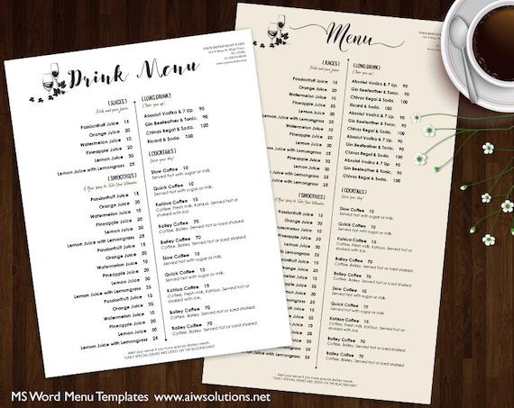 Drink Menu Templates Printable Restaurant Menu Template