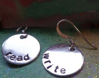 sterling silver read write literacy teacher librarian earrings BIBLIOPHILE