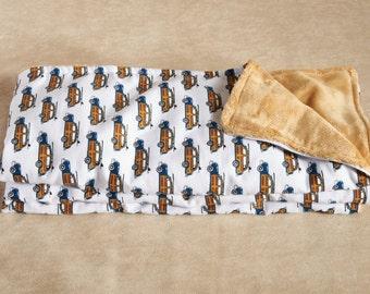 Vintage Wagon Blanket - 1st Baby Blanket - Baby Shower Gift
