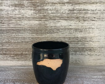 Pottery mug, NC mug, black mug, North Carolina mug, I love NC mug, black coffee mug, coffee mug, handmade pottery mug made in North Carolina