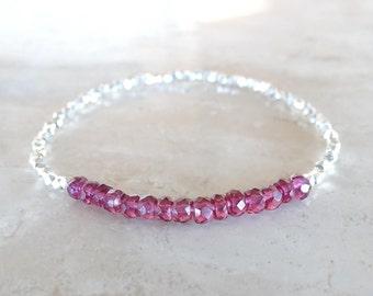 Garnet bracelet skinny garnet Birthday gift for BFF January birthstone delicate Garnet bracelet  Dainty garnet beaded bracelet