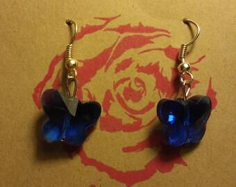 Blue swarovski Crystal butterfly earrings.