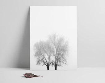 Fog, Foggy Tree Landscape Print. Moody Landscape Photography, Trees Printable, Black White Decor, Foggy Art print, Moody art,Misty Landscape
