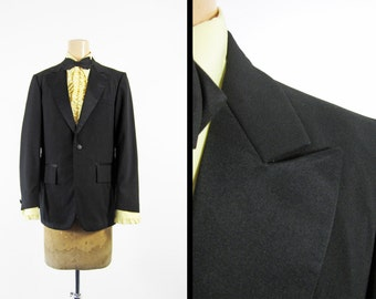 Vintage 70s Tuxedo Jacket Black Peak Lapel Custom Tailored Delmar NY - 36 Regular