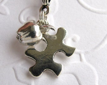 Autism Awareness necklace, autism jewelry, special education teacher gift, silver pewter charms, sterling chain, apple puzzle piece