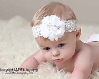 White Baptism Headband, White Headband, Baptism Headband, White Christening Headband, White First Communion Headband, Cross headband