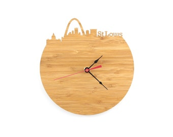 St. Louis Wall Clock - Missouri Skyline Clock - Large or Small Clock - Gift For Him - Modern Skyline Clock - Wall Art