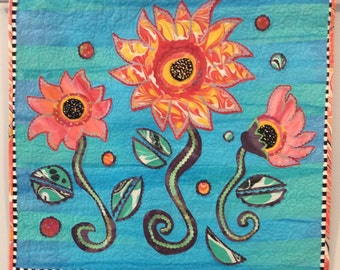Fantasy Flower quilt , Quilted Art, quilted wall hanging, home decor, fabric art