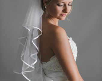 Bridal elbow veil,three layered,satin trimmed -made to order-