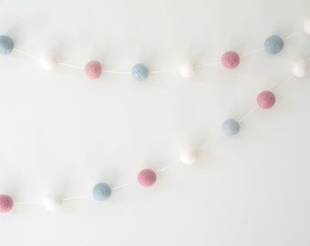 Baby Blue White & Pink Felt Ball Garland, Modern Girl Nursery, Baby Shower Gift, Maternity Leaving Gift, Eco-friendly Wedding, Girl Birthday