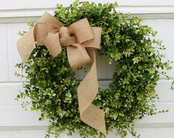 Boxwood Wreath, Farmhouse Decor, Green Wreath, Front Door Wreath, Burlap  Wreath,