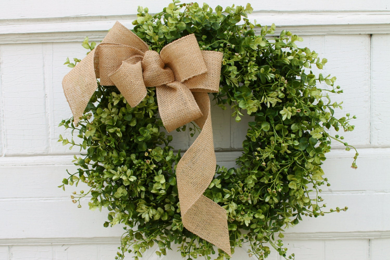 Boxwood Wreath Farmhouse Decor Green Wreath Front Door