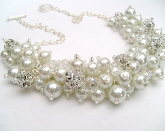 White Pearl and Rhinestone Beaded Necklace, Bridal Jewelry, Cluster Necklace, Chunky Necklace, Bridesmaid Gift,  Pearl Crystals Kim Smith