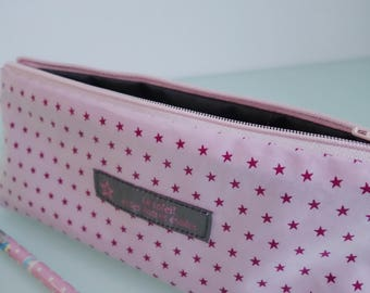 Bag fabric coated light pink stars - free shipping *.