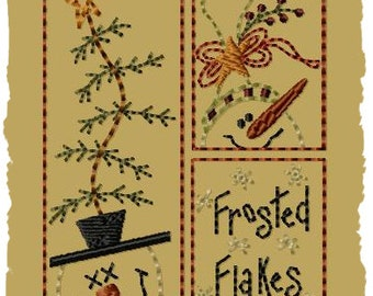 Frosted Flakes--4x4-Primitive Machine Embroidery Design-INSTANT DOWNLOAD
