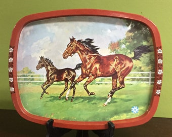 Vintage Tray with horses