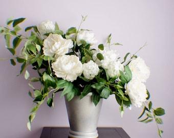 RTS Silk flower arrangement, Peonies Arrangement, White Flower, Mothers Day Spring Thanksgiving Arrangement, Table Centerpiece, Housewarming