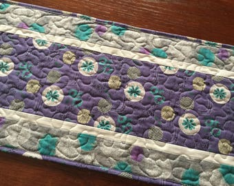 Modern Table Runner, Gray Teal Purple Quilted Table Runner, Spring Table Runner,