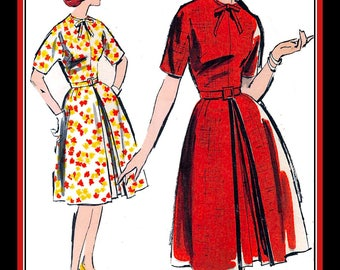 Vintage 1960s-ROCKABILLY MAMA DRESS-Plus Size Sewing Pattern-Dolman Sleeves-Flared Skirt-Inverted Pleat-Tie-Bow Neckline-Uncut-Size 18-Rare