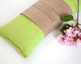 Linen Blend Eye Pillow - Great deal - Chartreuse Green Eyepillow - Yoga Prop - Spa gift -Aromatherapy - Sleep Aid - Organic flax pillow