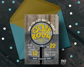 Escape Room Birthday Invitation - escape room invitation - escape room party - 5x7 invite - printable digital file