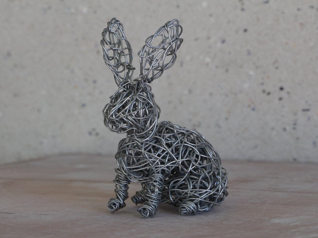 Metal Wire Sculpture Modern Art Bunny