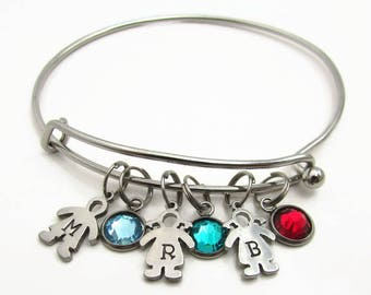 Personalized Mother's Bracelet, Birthstone Jewelry, Hand Stamped Personalized Bracelet, Personalized Bracelet for Mom, Grandmother Bracelet