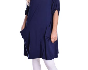 Tunic Dress Navy Blue Wide Loose Fit with Pockets and Half Sleeve Great for Spring and Summer