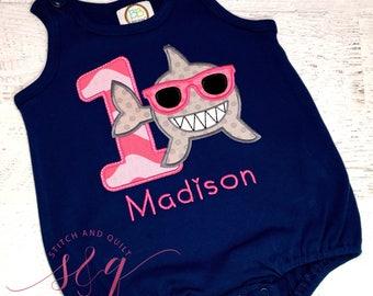 Baby romper, Shark Birthday, Shark Shirt, Shark Birthday Party,   Personalized Shark Shirt, Shark Birthday Party,  Personalized shark shirt