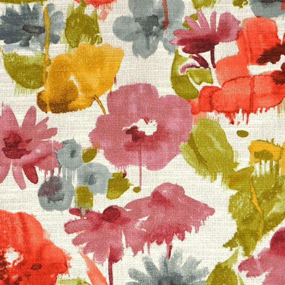 Coral Grey Yellow Artistic Floral Upholstery Fabric Pink
