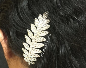 Bling hair accessory, Bling barrette, Bridal barrette, Swarovski barrette, Wedding barrette, Silver leaf barrette, Hair bling