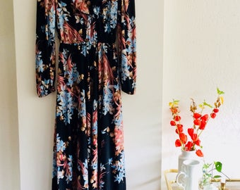 Vintage dress| 70s dress | size M/L | floral dress | gebloemde maxijurk | maxikleid | vintage kleid | bohemian chic | boho dress
