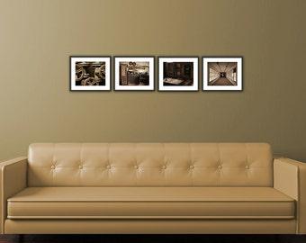 Set of 4 Prints, Livingroom, Fine Art Photography, Wall Art Livingroom, Industrial Decay , Livingroom, Home Decor Gift Set, Brown