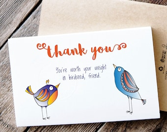 Funny Printable Thank You Card - Birds say thank you