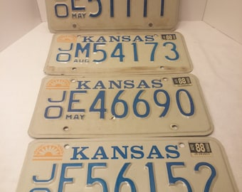 Vintage Kansas License Plates - 4 plate lot, for crafting, man cave decor, home bar decor, garage decor - 1982-1988 issue plates