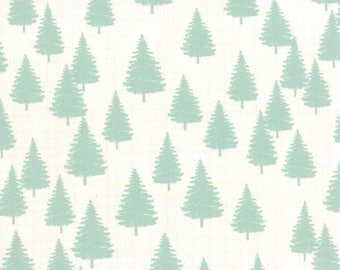 """By The HALF YARD - Winterberry by Kate and Birdie for Moda, Pattern #13143-12 Winter forest on Snow, Mint 1.5"""" - 2"""" Pine Trees on Cream"""