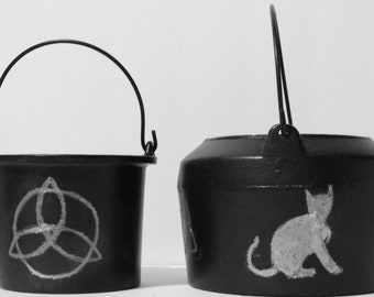 Witch Cauldron -2 to choose from! - Wiccan Wicca - Pagan - Metal altar tool symbols; Pentacle, Triquetra, Cat, All Seeing Eye - Halloween!!
