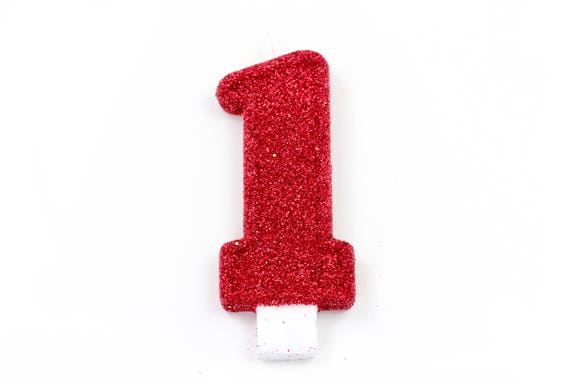 """5"""" Number 1 Candle, Giant 1 Candle, Red Party, Large Gold Candle, First Birthday Candle, Glitter Birthday, Gold 1st Birthday Candle"""